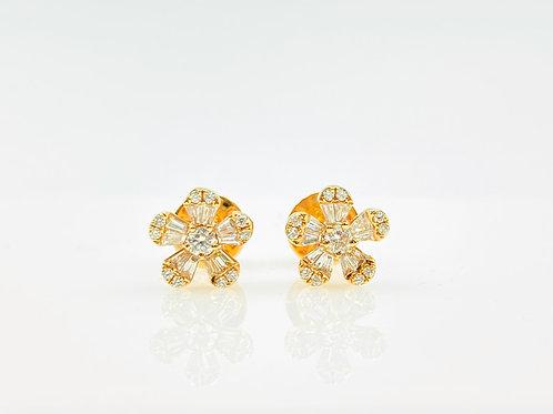 Baguette Flower Stud Earring