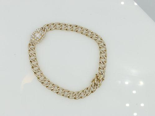 Diamond Cuban Link Bracelet With Baguette Accent