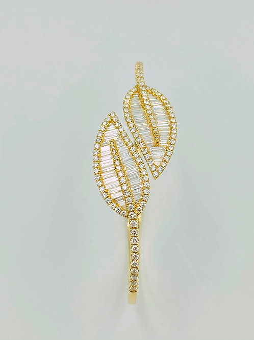 Baguette Leaf Bangle Bracelet