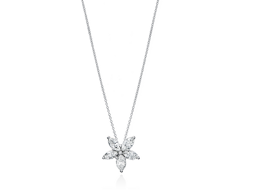 Yanina co cedar grove nj fine jewelry marquise diamond marquise diamond flower pendant mozeypictures Image collections