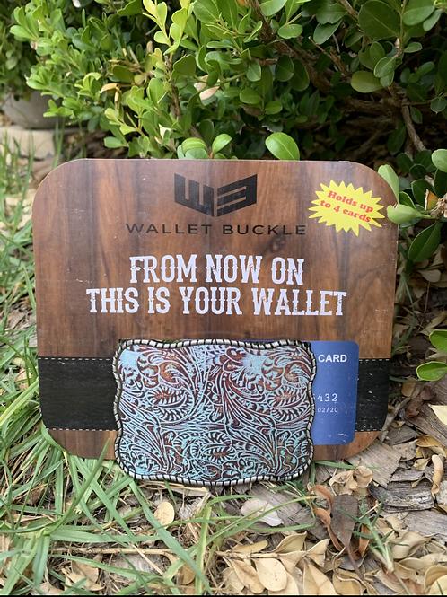 Wallet Buckle Blue Paisley