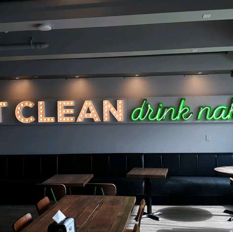 Eat Clean Marquee and Neon Sign