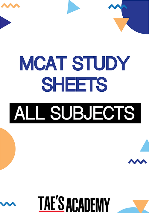 MCAT Study Sheets - All Subjects