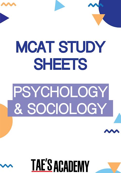 MCAT Study Sheets - Psychology & Sociology