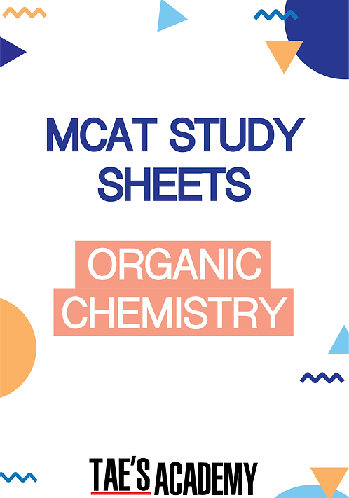MCAT Study Sheets - Organic Chemistry