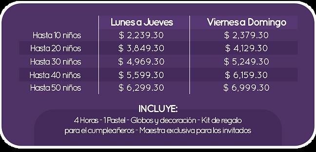TABLA PRECIOS PAQUETES QVIFIESTAS DESCUE