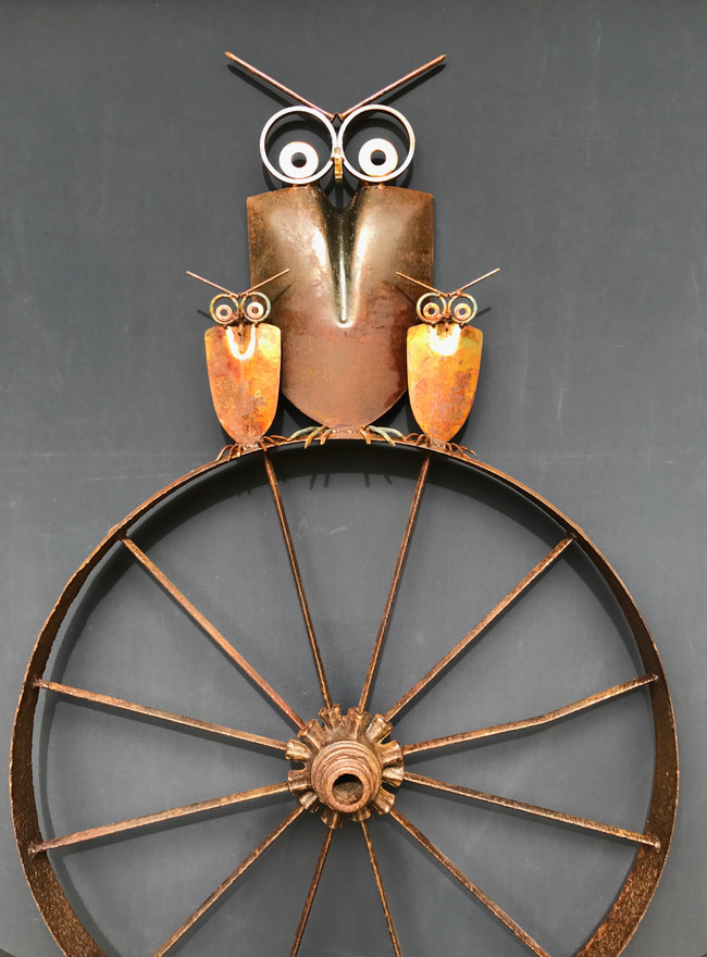 Owl Family On Antiqe Wagon Wheel