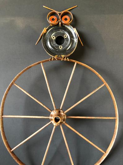 Owl on Antique Wagon Wheel