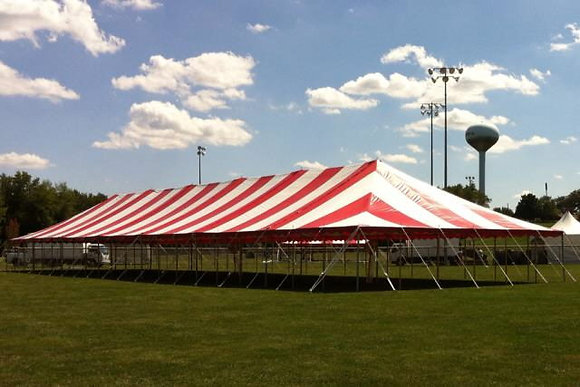 30 x 90 Red Striped Pole Tent