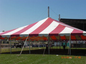 30 x 30 Red Striped Pole Tent