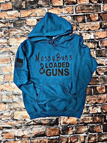 Messy Buns N Loaded Guns Hoodie - Blue