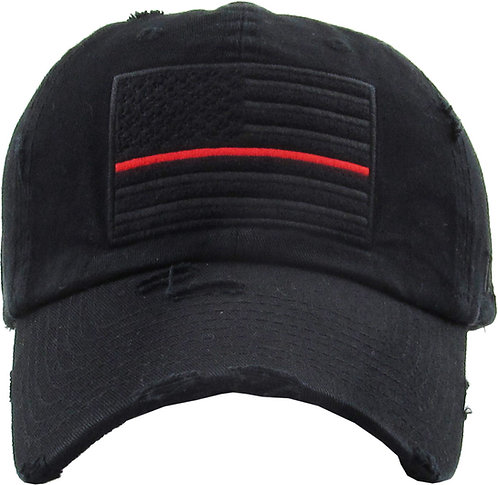 Red Thin Line Vintage Operator hat