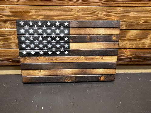 "50 Stars Wood Flag 13 x 21"""