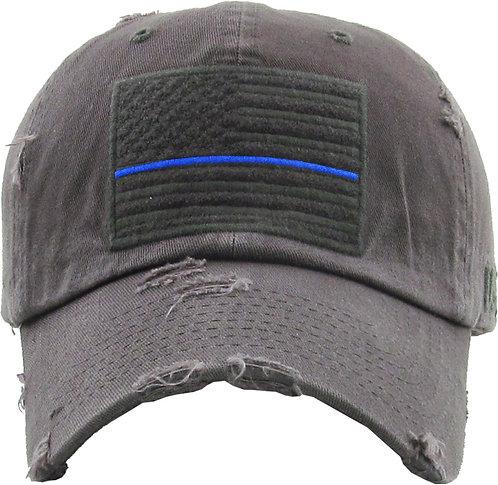 Grey Blue Line Vintage Operator Hat