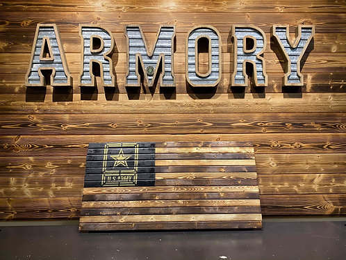 Army Wooden Flag -Gold Logo