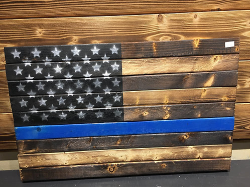 Thin Blue Line Wood Flag 13 x 21
