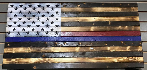 "Thin Blue/Red Line Wood Flag 19x37"""