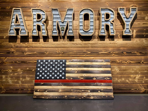 """Thin Red Line Wood Flag 19x37"""""""
