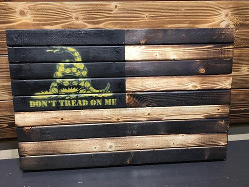 Don't Tread on me Wood Flag 13 x 21