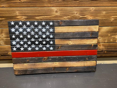 Thin Red Line Wood Flag 13 x 21