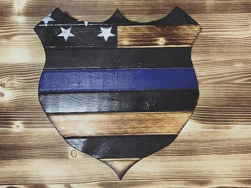 Thin Blue Line Wood Badeg