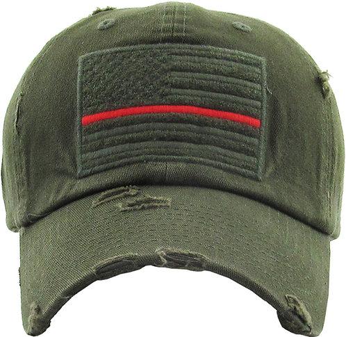 Olive Drab Red Line Operator Vintage hat