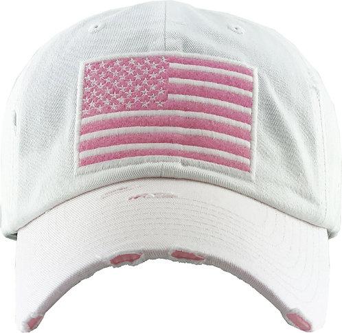 White/Pink Vintage Operator hat