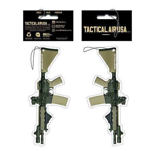 TACTICAL BLACK AND DESERT TAN AR15 WITH MRO AND FLASHLIGHT AIR FRESHNER