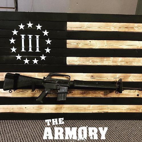 "3% Rifle Rack Wood Flag 44"""