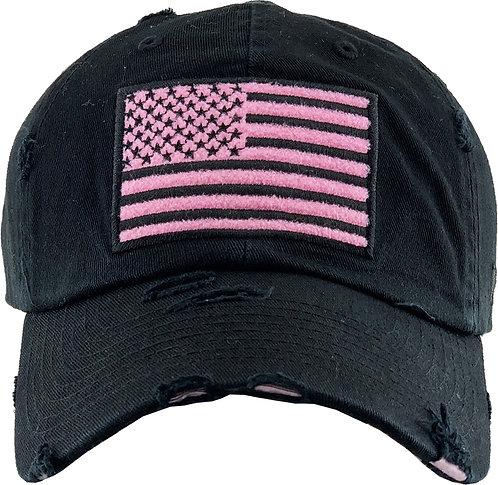Black / Pink Vintage Operator  hat