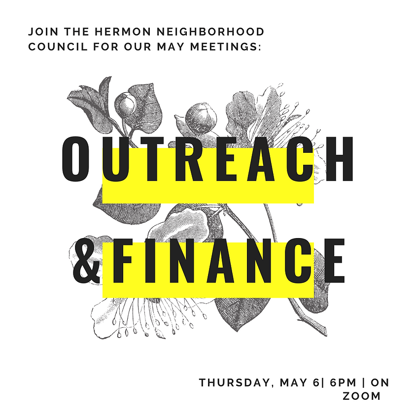 May Outreach and Finance Meetings