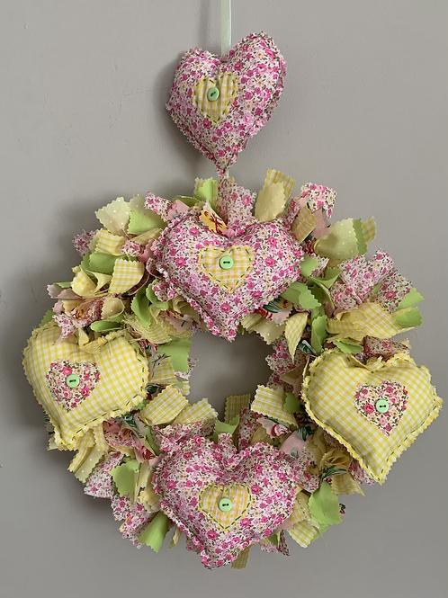 Lavender heart rag wreath kit