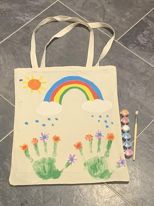 Paint a fabric reusable shopping bag
