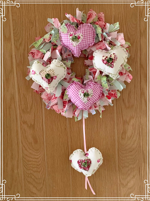 Lavender heart rag wreath kit