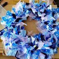 rag wreath blue