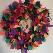 Rainbow rag wreath