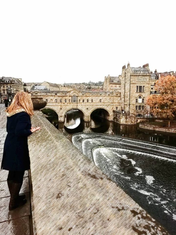 Our dear friends Paul and Anna visited Bath recently and while they were there they kindly re-created the image from the front cover of my latest novel Letting Go, which their talented daughter Charlotte created for me. Anna even turned her photo into a drawing. Such a creative family.    If you are going to Bath any time soon, perhaps you could do the same and have a go at capturing this beautiful image of Bath Weir, and re-create your own image of my main character Beth Montague, dreamily watching the water cascading below.    If you do manage to get a photo, please send it to me at hazeleallenauthor@aoamedia.plus.com    Coincidentally, Beth is also the name of our god-daughter, Paul and Anna's other lovely daughter.