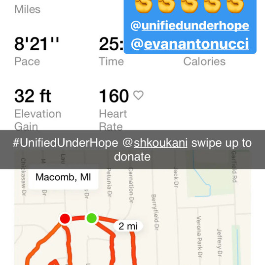 Miles For Donation spreading on social media.
