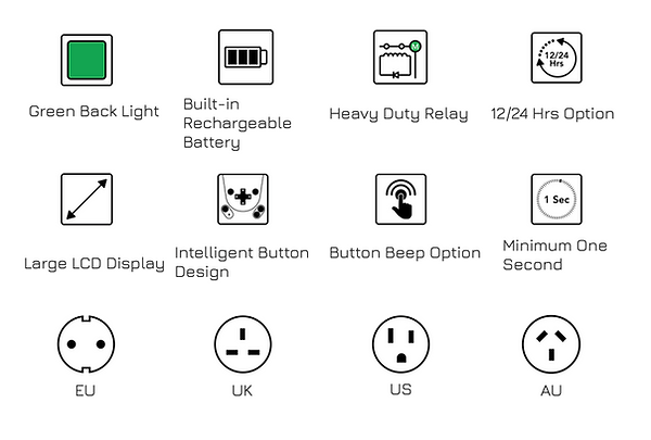 TIME-R digital timer feature icons