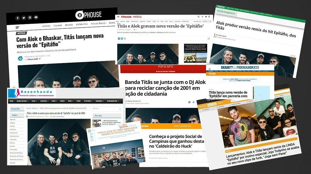 Colagem com diversas páginas na internet noticiando a parceria entre o Instituto Anelo, a banda Titãs e o DJ Alok
