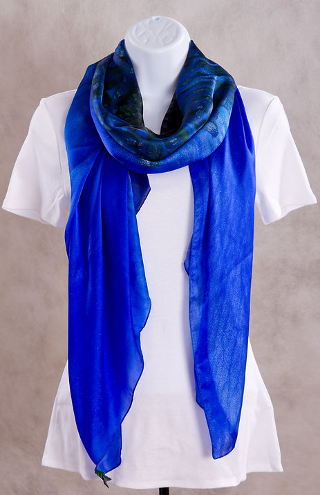 Blue Anemone Flower Luxury Silk Scarf