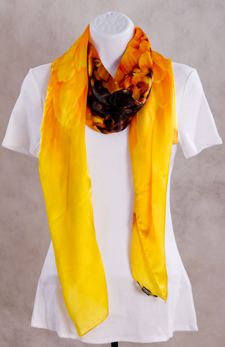 Yellow Gerbera Flower Luxury Silk Scarf