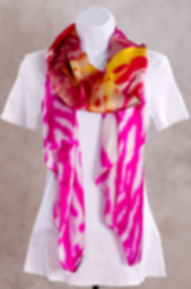 Pink Orchid Flower Luxury Silk Scarf