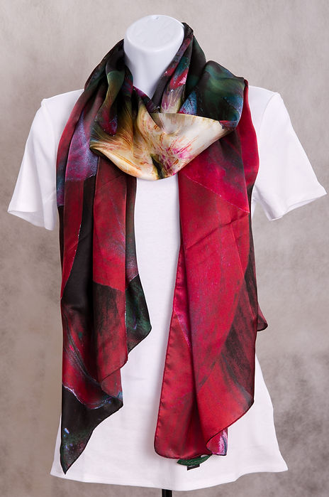 Red/Black Dahlia Flower Luxury Silk Scarf