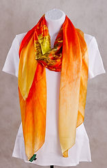 Red/Peach Gerbera  Luxury Silk Scarf