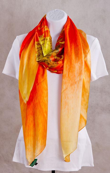 Red/Peach Gerbera Flower Luxury Silk Scarf
