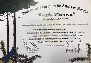 Menção Honrosa da Assembleia Legislativa do Paraná