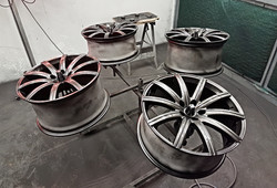 Aston Martin alloy wheels being painted