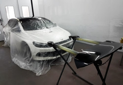 VW Scirocco in the spray booth