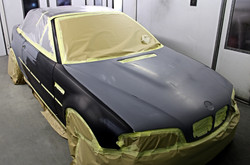 BMW masked up and ready for spraying